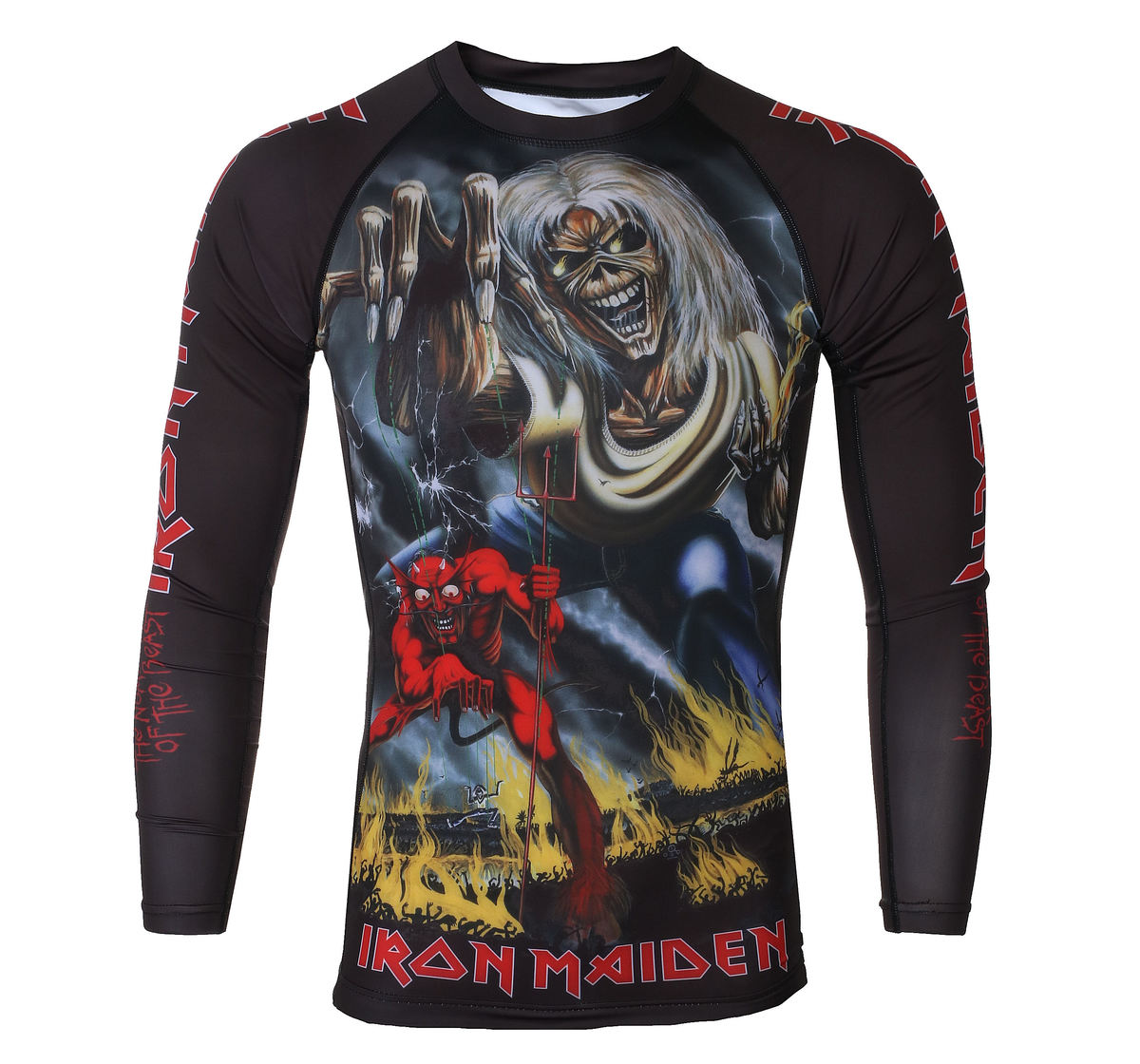tričko pánske s dlhým rukávom (technickej) TATAMI - Iron Maiden - Number of the Beast - Rash Guard -