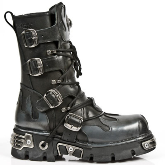 topánky NEW ROCK - Flame Boots (591-S2) Black-Grey