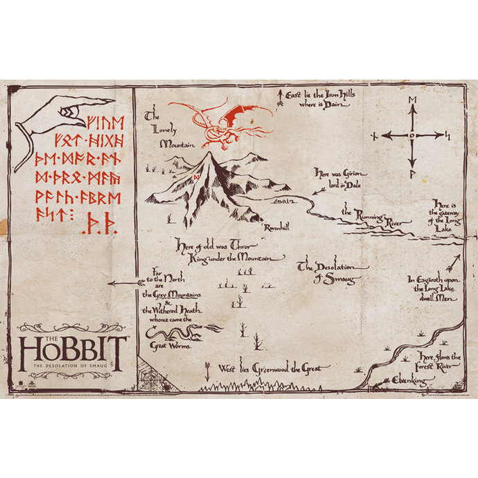 plagát The Hobit - Mountain Map