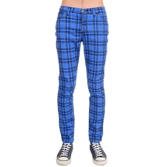 nohavice (unisex) 3RDAND56th - Tartan Skinny Jeans - Blue / Tartan, 3RDAND56th