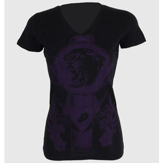 tričko dámske SOMETHING SACRED - Tiger Cross One color V-neck, SOMETHING SACRED