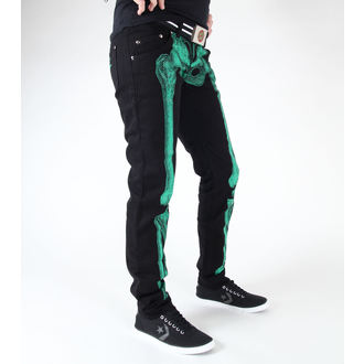Nohavice  KREEPSVILLE SIX SIX SIX - skeleton skinny jeans - green č.2