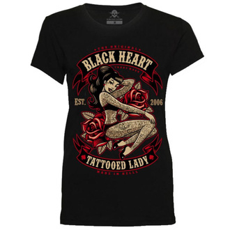 tričko dámske BLACK HEART - TATTOED LADY - BLACK, BLACK HEART