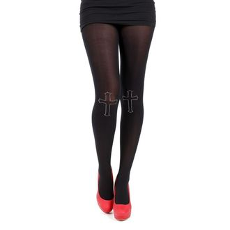 pančucháče PAMELA MANN - 80 Denier Tights With Cross On Knee-Black - 013