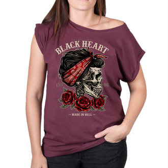 tričko dámske BLACK HEART - PIN UP SKULL EXT - RED, BLACK HEART