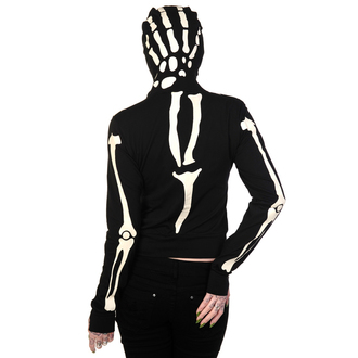 mikina dámska BANNED - Glow In The Dark Skeleton Hand - Black - HBN015