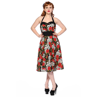šaty dámske BANNED - Skull And Roses - Black / Red - DBN578RED