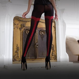 pančucháče LEGWEAR - charley opaque - black with red seam, LEGWEAR