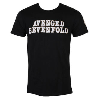 tričko pánske Avenged Sevenfold - Logo & Deathbat Applique - Black - ROCK OFF, ROCK OFF, Avenged Sevenfold