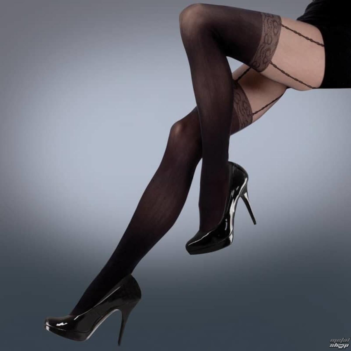 pančucháče LEGWEAR - mock lace suspender - black - LE007